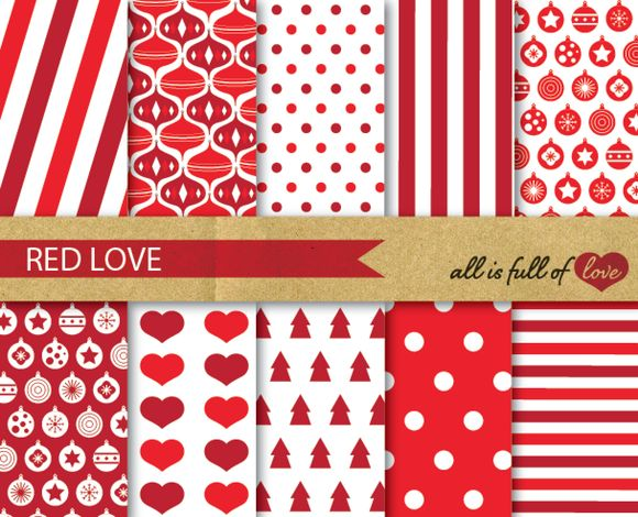 Check out Digital Red Christmas Backgrounds by All is full of Love on Creative Market