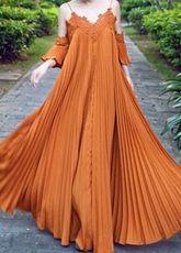 Marrone di volant pizzo snobbare Maxi Dress in Chiffon per le donne - Milanoo.com