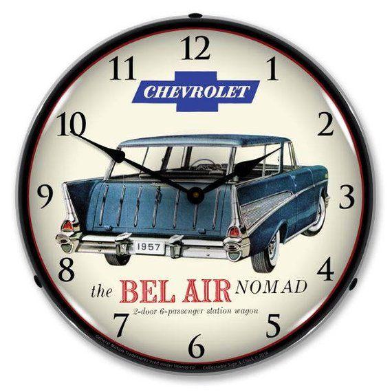 Antique Style 1957 Chevrolet Bel Air Nomad Led Lighted Backlit Clock Chevrolet Bel Air Bel Air 1957 Chevrolet