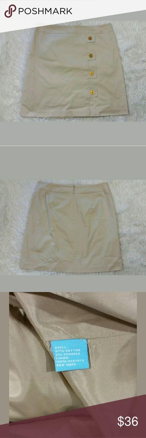 J. McLaughlin Khaki Pencil Skirt Buttons J. McLaughlin Khaki Pencil Skirt Buttons Tan Gold Size 10  Excellent used condition.  33 inch waist.  42 inch hips.  19.75 inches long.   LB J. McLaughlin Skirts