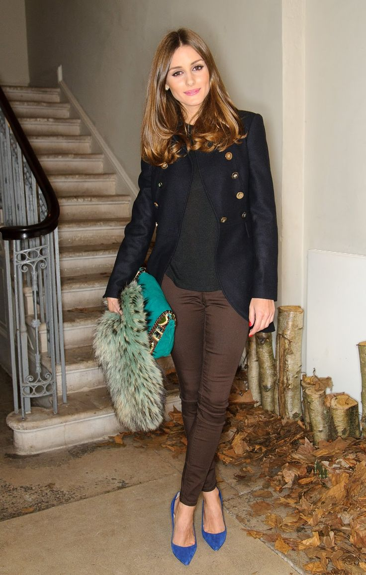 Olivia Palermo in navy military blazer, brown skinnies, bright blue pumps + teal bag. I would swap out the brown skinnies though.