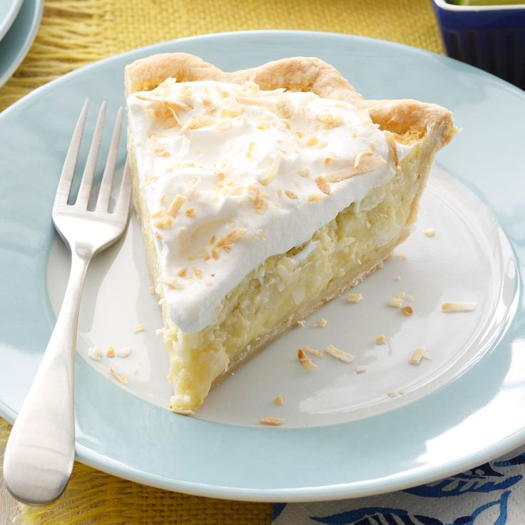Lime & Coconut Cream Pie Recipe -My custard pie features two tropical flavors I love. Plus, it's a breeze to make. I throw most of the ingredients in the blender to whip up the filling, then pour it into a purchased crust. —Mandy Rivers, Lexington, South Carolina