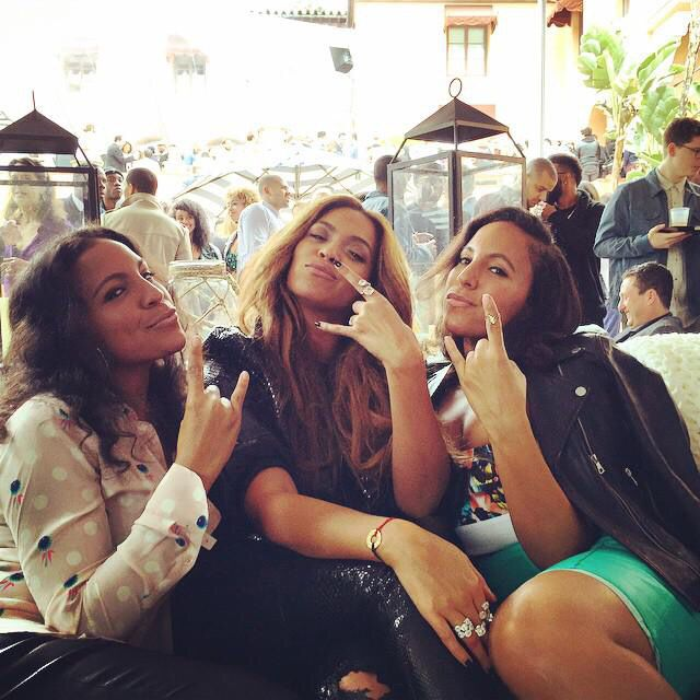 Twins Shay and Ninah with Beyoncé  at Pre Grammys Roc Nation Brunch in Los Angeles, February 7th 2015