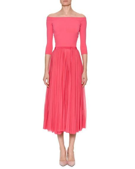 dac137c55664 Off-the-Shoulder Belted Plisse Pleated Tea-Length Dress | mother of ...