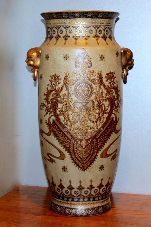 """Classic Vase - Standing 20"""" x 11""""...has """"door-knocker type gold handles with a classic design (same on both sides)... Order # V-1920 ...... $80."""