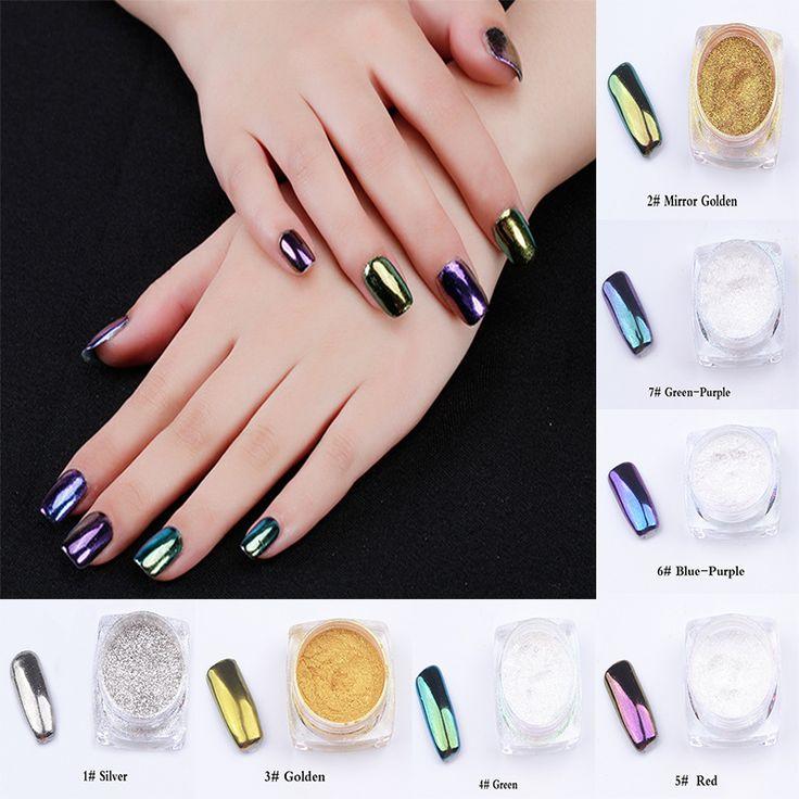 7 di colore del Metallo Unghie Tip Decorazione Arte Pigmento Glitters Polvere 1 pcs 2g Specchio Polvere Per Smalto Per Unghie 3D Decorazione Nail Art