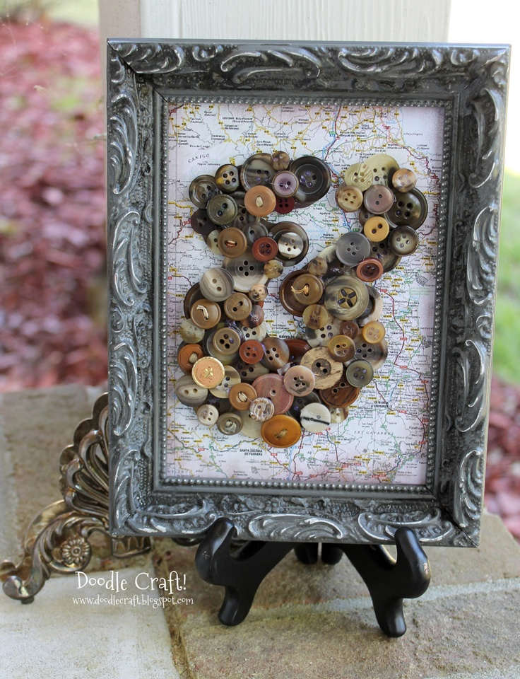 5 by 7 glazed gray vintage frame buttons map ampersand for Ampersand decoration etsy