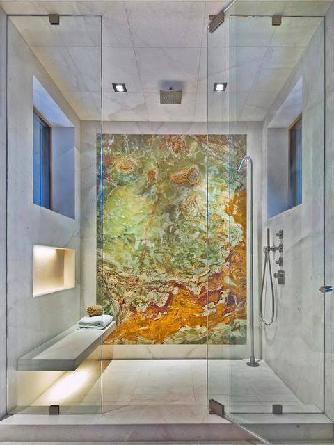 GORGEOUS Illumination Series by ForzaStone. Real stone panels in a shower. Easy to install and maintain. #remodeling #homedesign #bathdesign #homerenovation #interiordesign #bathremodel #homedesign