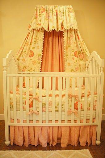 Nursery reveal pink princess nursery with bed crown for Nursery crown canopy