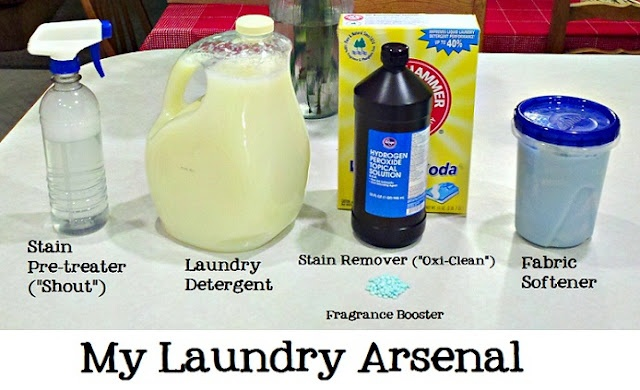 """Homemade Laundry Products Line-Up  Stain Pre-treater, Laundry Detergent, Stain Remover (""""Oxi-Clean""""), Fabric Softener and Fragrance Booster.: Laundry Products, Homemade Laundry, Good Things, Diy Cleaning, Laundry Lines, Laundry Detergent, Stain Remover, Products Line Up, Laundry Room"""