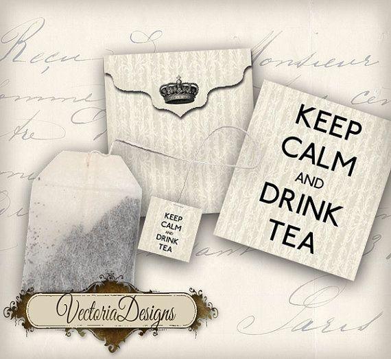 Printable Keep Calm and Drink Tea Bag Holder envelope tag instant download digital collage sheet 081