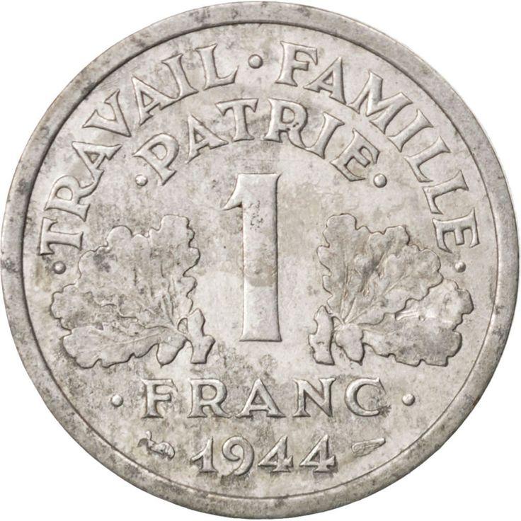#89524 Etat Français, 1 Franc Bazor 1944 petit C, KM 902.3 : TB, 1 Franc, De 151 à 500 Euros, Castelsarrasin, Aluminium, 1944, Comptoir Des Monnaies Numismatique