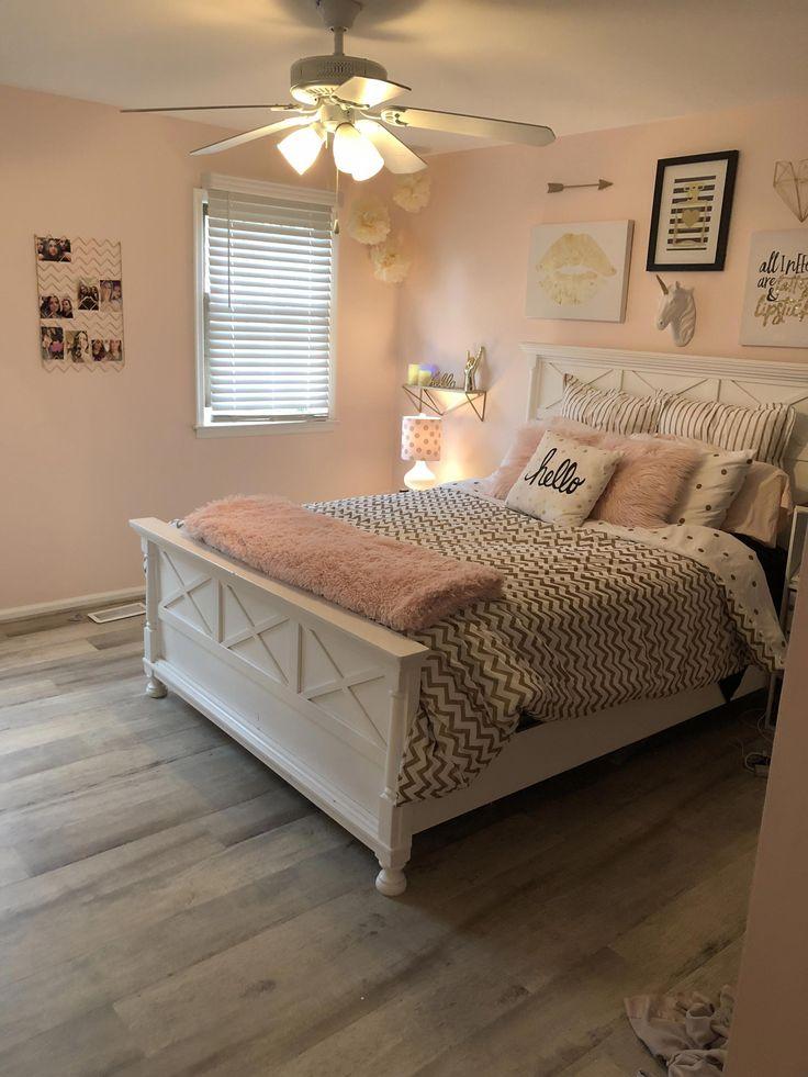 Teen Room Decor White, Gold, Blush Pink  -7821
