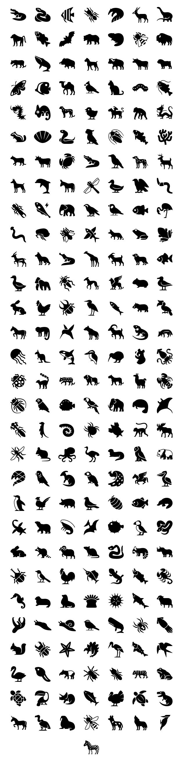 This set contains a load of icons of animals, from invertebrates like corals, slugs and jellyfish, including all sorts of bugs like ants, bees and beetles, to fishes, birds and mammals, plus a few mythical ones like dragon and unicorn. This set includes approximately 5275 unique icon shapes ( without counting sizes ), and all sizes: [...]