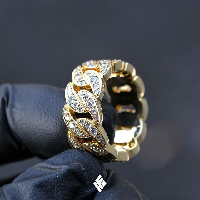 Solid 14k Yellow Gold Cuban Link Eternity Ring Fully Iced With White Diamonds Www Ifandco Com Cubanl Mens Gold Rings Gold Chains For Men Men S Jewelry Rings