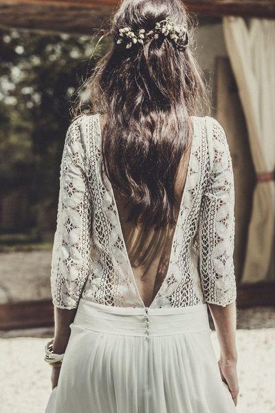 """Robe de mariée """"Palma"""": robe en dentelle de Calais et crêpe georgette, prix sur demande, Laure de Sagazan."""