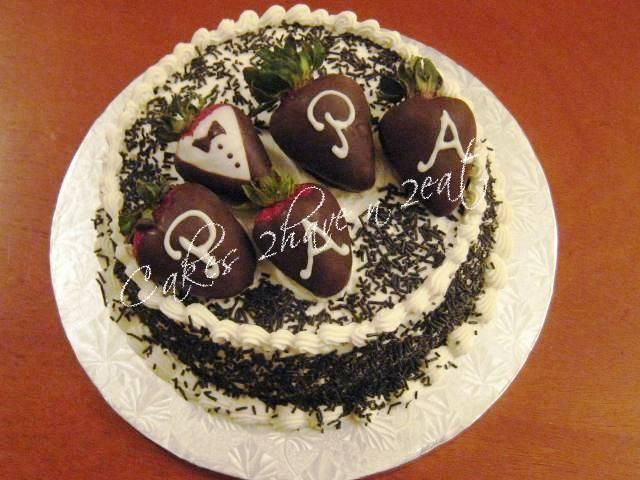 BLACK FOREST CAKE - chocolate dipped strawberry tuxedo for a special Papa !