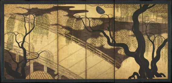 Bridge and Willows 柳橋図屏風 Japanese, Momoyama period -Edo period, 17th century Formerly attributed to Kano Eitoku, Japanese, 1543–1590, Six-panel folding screen; ink, color, gold, and silver on paper, MFA