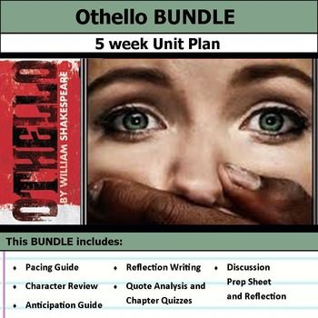 5 weeks of lesson plans. Includes pacing guide, film essay, activities, chapter quizzes, and discussions. This bundle has everything you need to get started teaching Othello by William Shakespeare in an engaging way!