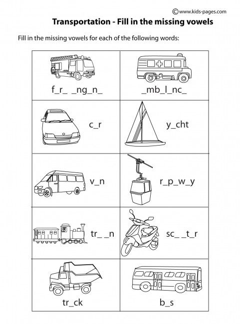 Transportation Fill In BW worksheets