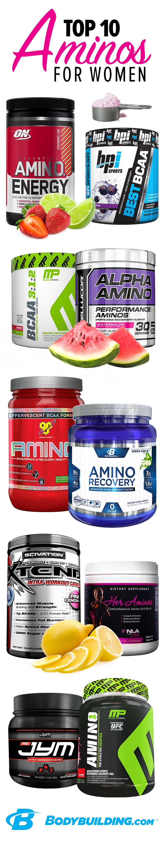 Top 10 Aminos for Women! These building blocks of protein are key to your muscle repair and growth. They can also help keep your immune system running strong, improve your mood and concentration, and support healthy digestion. Bodybuilding.com