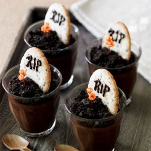 Dark chocolate Pots de Creme graveyard puddings. We had less chic versions of these in the cafeteria for lunch every Halloween in elementary school and I LOVED THEM.