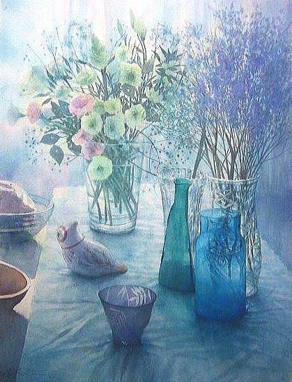 【水彩画テラス】静物「青の調べ」