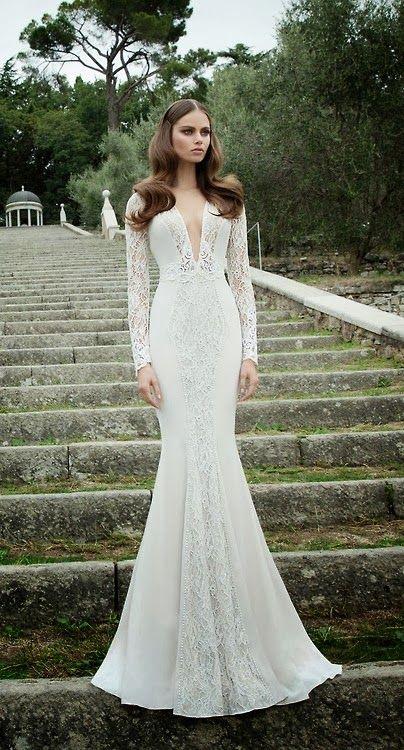 Long sleeves and deep cleavage- Berta Bridal