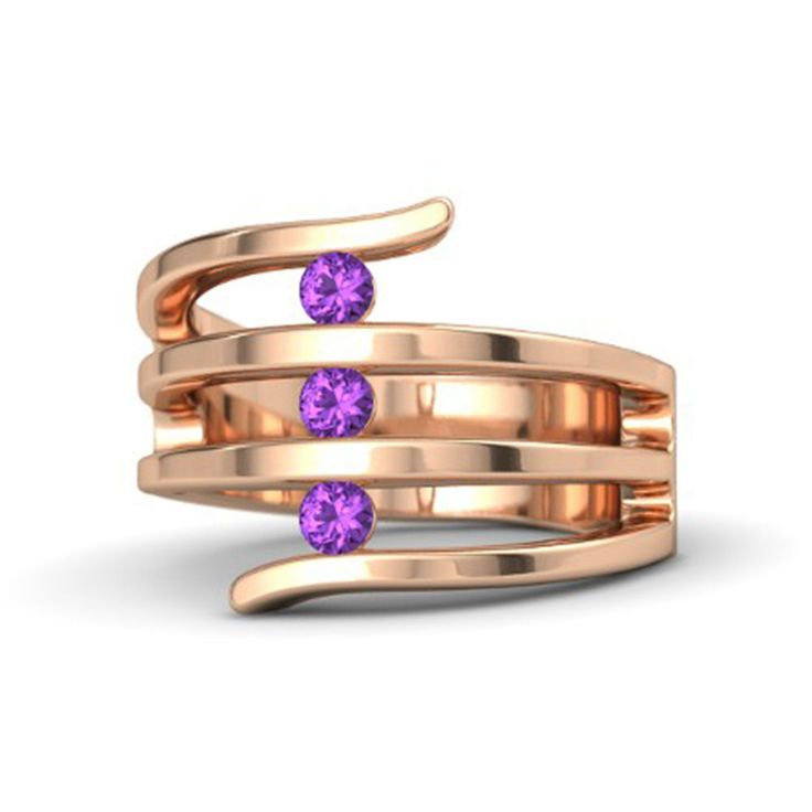 14K Rose Gold Over .925 Sterling Silver Round Amethyst Three Stone Band Ring #eightyjewels #ThreeStone #AnySpecialDay