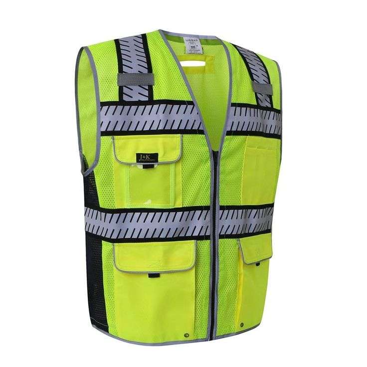 J.K Safety 7 Pockets Class 2 High Visibility Heavy Duty Reflective Safety Vest,Segmented Fishbone Tape Design, Yellow Meets ANSI/ISEA Standards (Medium, Yellow)