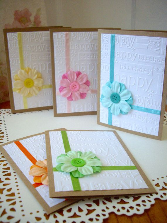 happy birthday card, embossed happy birthday card, girl birthday card, flower birthday card, kraft birthday card, embellished birthday card