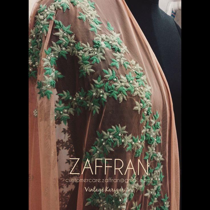 Hand embellished dupatta by ZAFFRAN (#ZaffranLabel). Contact: customercare.zaffran@gmail.com