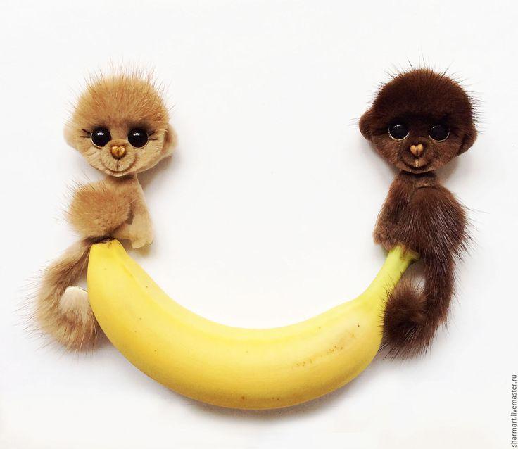 Купить Норковая обезьянка Мокко - коричневый, обезьянка, подарок на новый год, подарок девушке, подарок подруге