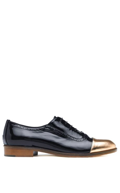 Meandher Lulu Black Patent Shoe With Gold Toe by Meandher for Preorder on Moda Operandi
