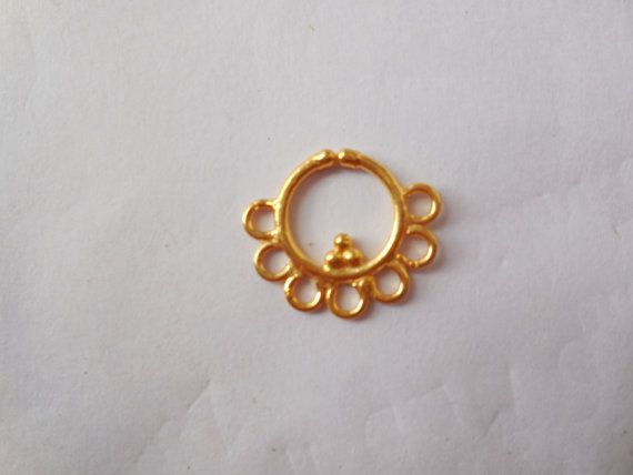 Gold plated indian nose ring for None by Gemstonebeadsfinding