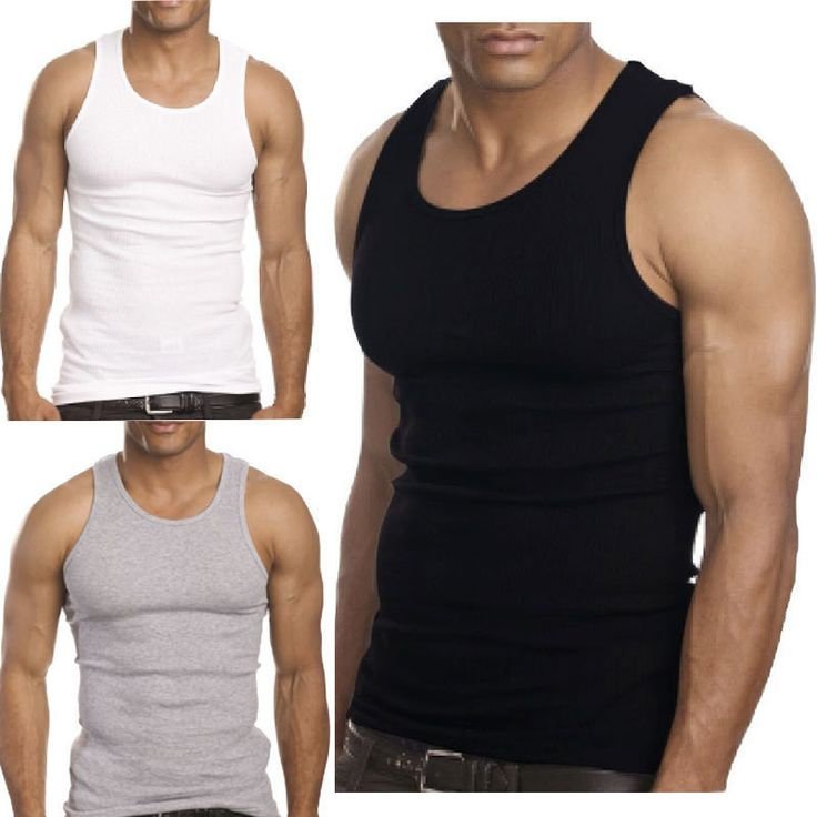 Pin 2015 Muscle Men Top Quality Premium Cotton A Shirt Wife Beater Ribbed Tank Top to one of your boards if you like it !