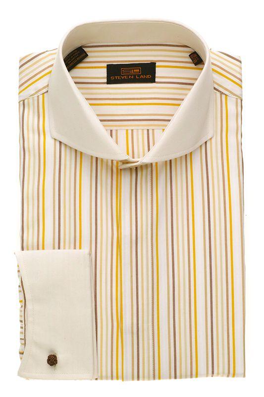 Steven Land Dress Shirts  DS1266   Brown  $69 #StevenLand #Style Fashion Dress shirts 100% cotton dress shirts classic fit