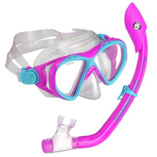 Aqua Lung America Junior Buzz Island Snorkel Set, Purple. Color: Fun purple. Contoured barrel is ergonomically shaped for youth and small adults. One way purge valve for easy clearing. S.Divers Buzz/Island Dry Junior. Submersible dry top snorkel with Pivot-Dry Technology. 2 window tempered glass lens. Fun purple youth mask with 3-way adjust Pro-Glide buckle system and a submersible snorkel. Item Dimensions: width: 1050, height: 600.