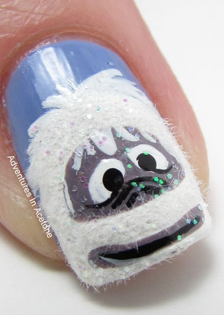 Abominable Snowman Nails: Monster Nails, Yeti Nail, Snowy Monster, Christmas Nails, Nail Design, Bumble Nail, Snowman Nails, Nail Art, Abominable Snowman