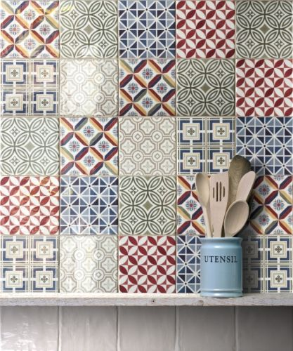 Add some colour to your kitchen or bathroom with these beautifully glazed patchwork tiles...