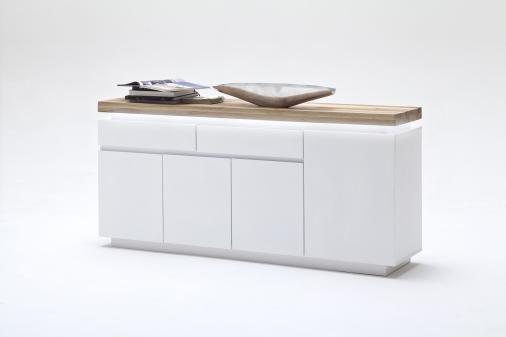 Sideboard Weiss Matt/ Wildeiche Massiv Woody 41-02037 Modern