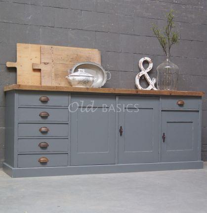 Leuk dressoir grijs en houten blad