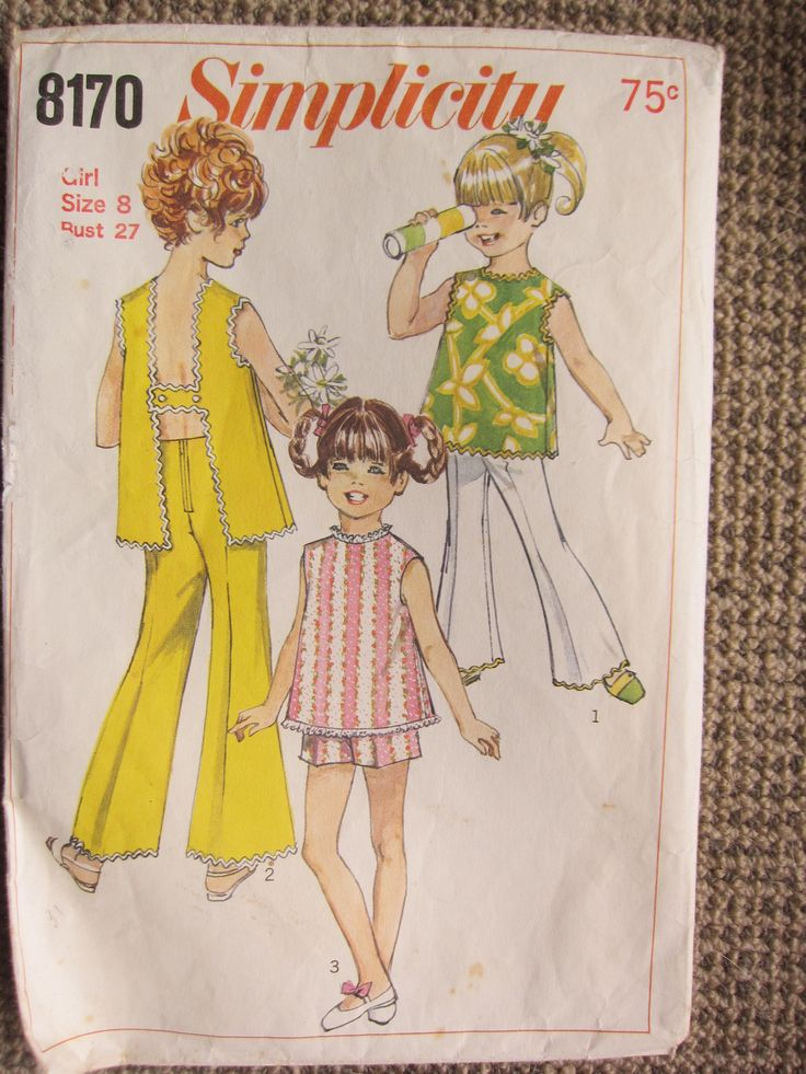 "Great 1960's girls' pattern The Long or Short Pants with Back Zipper have  elastic waistline casing gathered at sides.  V.1 and 2 ""Bell Bottom"" long pants have ricrac trim.  V.3 Pants are short.  The sleeveless top has high round front neckline with ""H-Back"" closing.  V.1 and 2 top have ricrac trim.  V.3 top has embroidered eyelet edging trim.  V.1 top has contrast pants."