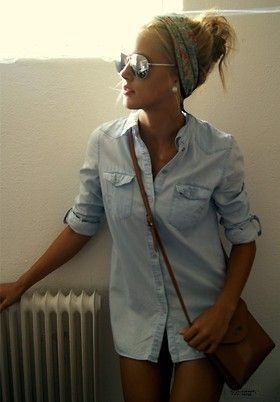 want a denim button up!: Button Up, Style, Outfit, Head Band, Head Scarf