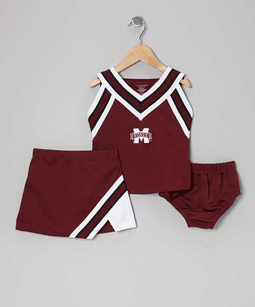 Looking and feeling just like what the real cheerleaders wear, this spirited set comes with an embroidered zipper top and skirt plus matching undershorts.Includes top, skirt and undershorts100% polyesterMachine wash; tumble dryImported