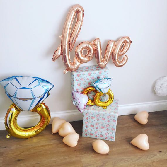 Hen Party Full set Dimond Ring  Party, Last Fling , Hen Party, Mylar Gold Balloons , Balloon Garland, Bridal Party shower