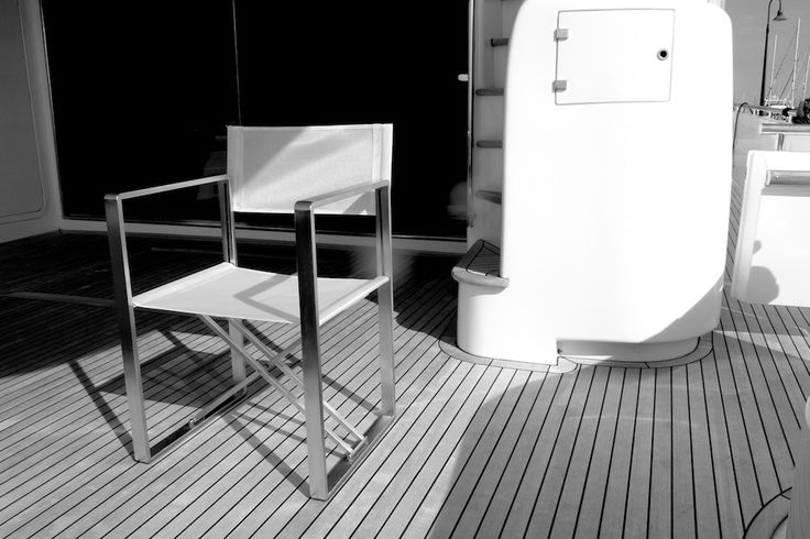#PIEGAMI  #foldingchair #Yacht Design: Alfredo Tasca, #MarcoDeLuca, Raffaele Lazzari in brushed stainless steel, with net fabric of high tenacitypolyester and polyvinyl studied for outdoor, light and breathable, easy tomaintain and certified according to oeko-tex standard 100. Class 1 FireResistant material available on request. It closes down to only 8 cm.product by #Metalco HOME Italy