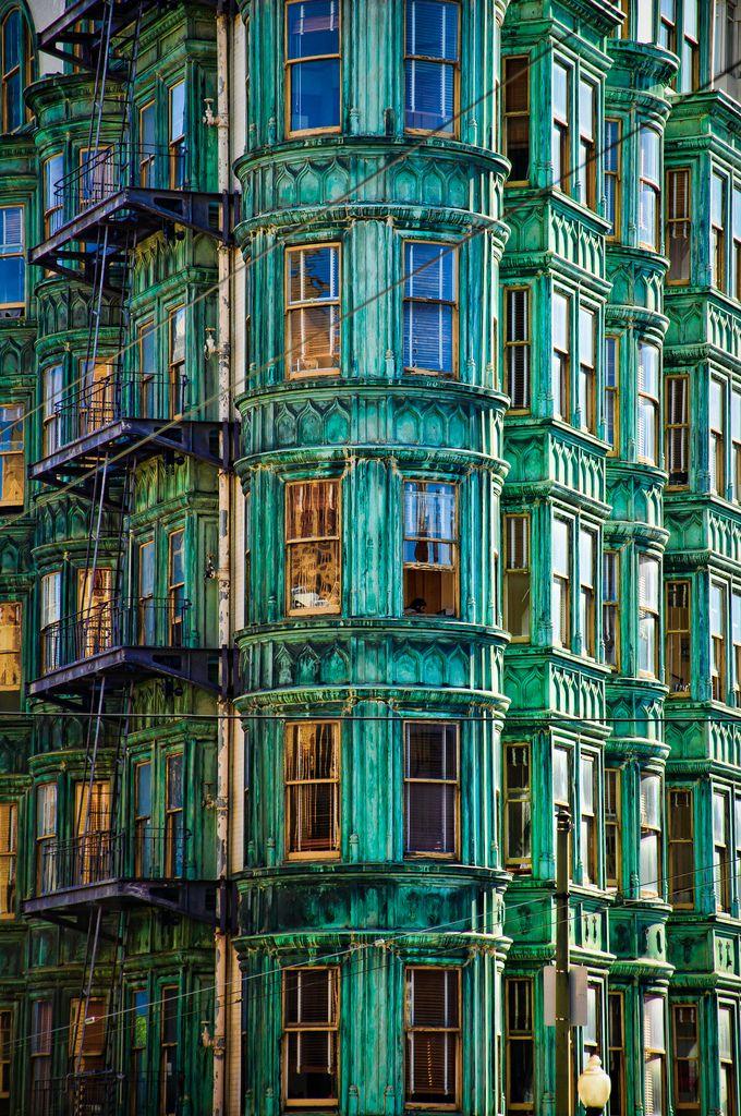 Brandon Doran, San FranciscoBays Windows, San Francisco California, Emeralds Cities, Colors, Bluegreen, Green Buildings, Blue Green, Architecture, Colours