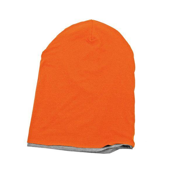 DWUSTRONNA CZAPKA pomarańczowa szara dwukolorowa w Torebki Filcowe Purol Design na DaWanda.com