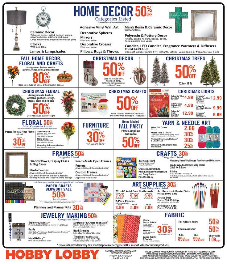 Hobby Lobby Weekly Ad November 19 - 25, 2017 - http://www.olcatalog.com/grocery/hobby-lobby-weekly-ad.html